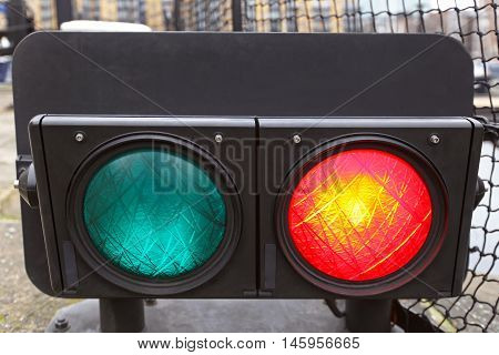 Red Light at Bridge Traffic Lights Signaling That Bridge is Closed