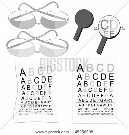 Set Graphics Of Glasses Of View To Measure And Magnifier. Vector Illustration