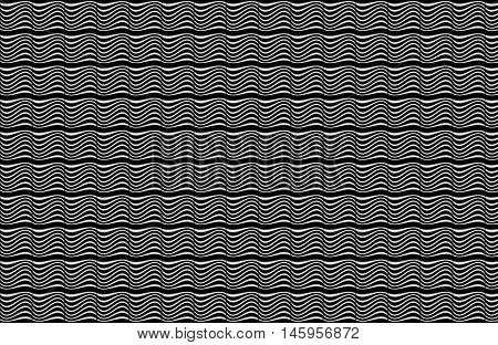 Op Art Illusion Black and white wavy lines