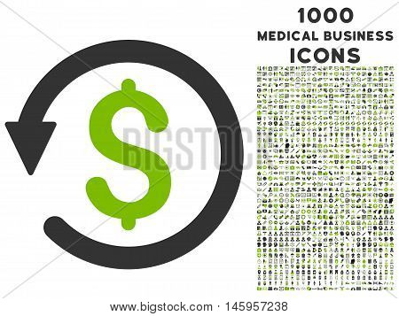 Chargeback vector bicolor icon with 1000 medical business icons. Set style is flat pictograms, eco green and gray colors, white background.