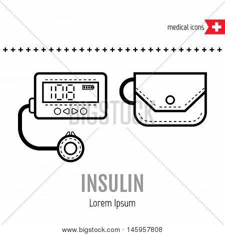 Equipment for diabetics. Medical flat linear icon. Vector illustration