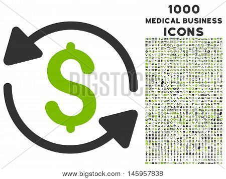 Money Turnover vector bicolor icon with 1000 medical business icons. Set style is flat pictograms, eco green and gray colors, white background.