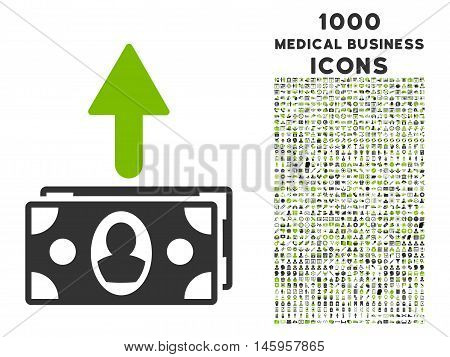 Spend Banknotes vector bicolor icon with 1000 medical business icons. Set style is flat pictograms, eco green and gray colors, white background.