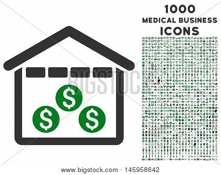 Money Depository vector bicolor icon with 1000 medical business icons. Set style is flat pictograms, green and gray colors, white background.