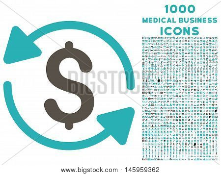 Money Turnover vector bicolor icon with 1000 medical business icons. Set style is flat pictograms, grey and cyan colors, white background.