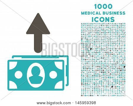 Spend Banknotes vector bicolor icon with 1000 medical business icons. Set style is flat pictograms, grey and cyan colors, white background.