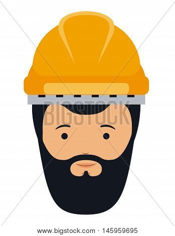 constructer man and cartoon with helmet icon. profession worker and occupation theme. Isolated design. Vector illustration