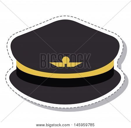 pilot hat with wings symbol icon. profession worker and occupation theme. Isolated design. Vector illustration