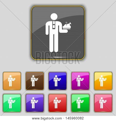 Waiter Icon Sign. Set With Eleven Colored Buttons For Your Site. Vector