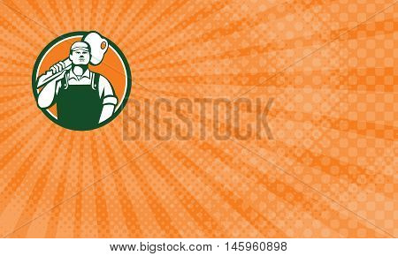 Business Card showing illustration of a locksmith standing facing front carrying key on shoulder set inside circle on isolated background done in retro style.