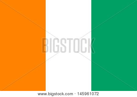 Flag of Ivory Coast correct size proportions and colors. Accurate official standard dimensions. Cote D Ivoire national flag. African patriotic symbol banner element background. Vector illustration