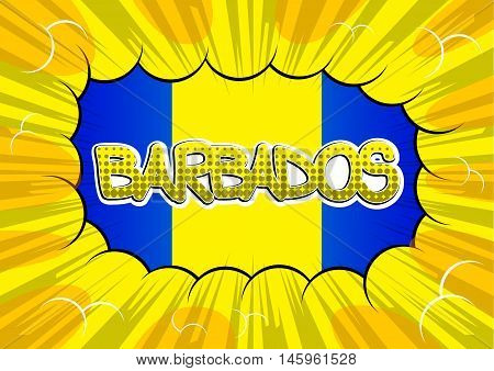 Barbados - Comic book style text on comic book abstract background.