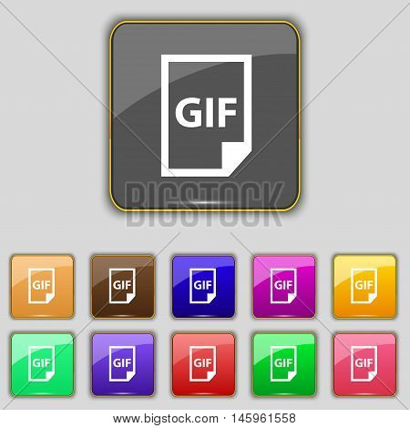 File Gif Icon Sign. Set With Eleven Colored Buttons For Your Site. Vector