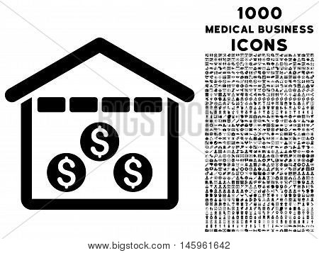 Money Depository vector icon with 1000 medical business icons. Set style is flat pictograms, black color, white background.