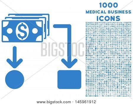 Cashflow vector icon with 1000 medical business icons. Set style is flat pictograms, cobalt color, white background.