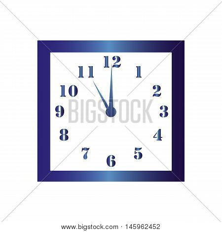 Isolated wall square clock. Vector illustration on white background. Eleven hours. Eleve o'clock. 11 o'clock.