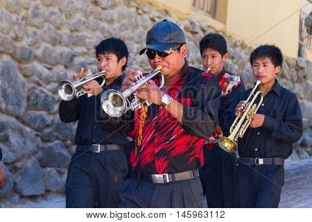 Live Band Waling Down The Street