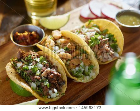 mexican street tacos with barbacoa, carnitas and Chicharr�³n