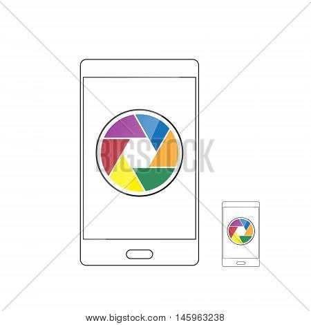 camera shutter icon in smartphone vector illustration