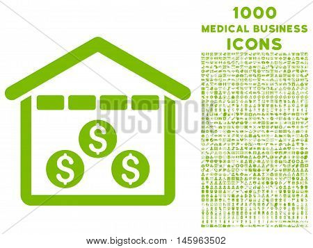 Money Depository vector icon with 1000 medical business icons. Set style is flat pictograms, eco green color, white background.