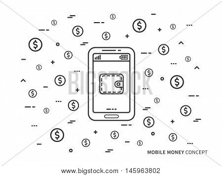 Mobile Money Wallet With Coins Vector Linear Line Illustration