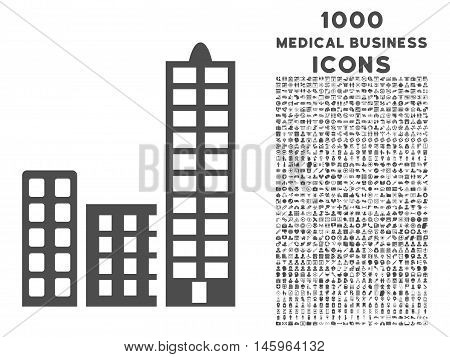 City vector icon with 1000 medical business icons. Set style is flat pictograms, gray color, white background.