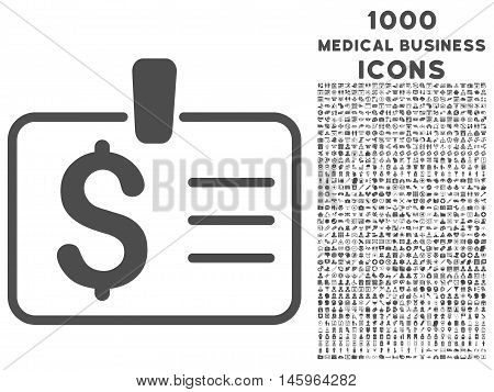 Dollar Badge vector icon with 1000 medical business icons. Set style is flat pictograms, gray color, white background.