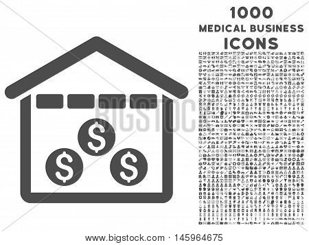 Money Depository vector icon with 1000 medical business icons. Set style is flat pictograms, gray color, white background.
