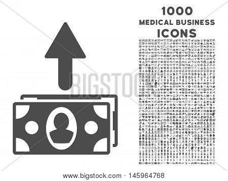 Spend Banknotes vector icon with 1000 medical business icons. Set style is flat pictograms, gray color, white background.