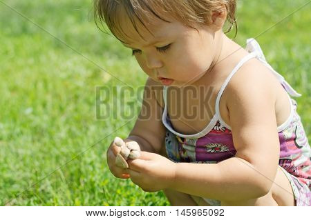 Little Child Playing With Toxic Toadstool Mushrooms