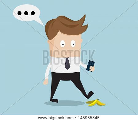 businessman walking and talking with smartphone slipping on a banana peel vector illustration