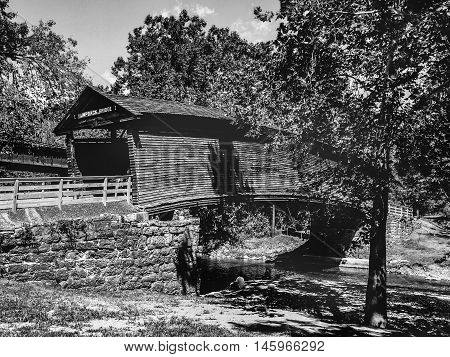 wooden old bridge in western Virginia black and white photo