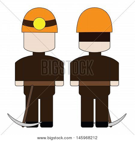 Simple cartoon miner in a helmet with a pick.