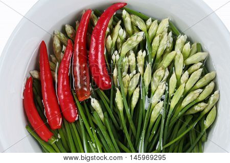 Garlic chives and red hot chili pepper in bowl on white background.
