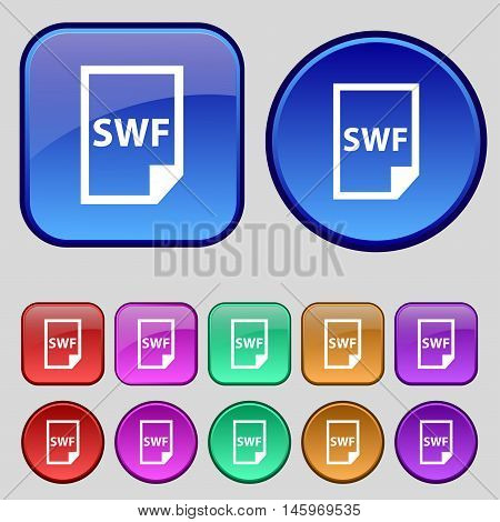 Swf File Icon Sign. A Set Of Twelve Vintage Buttons For Your Design. Vector