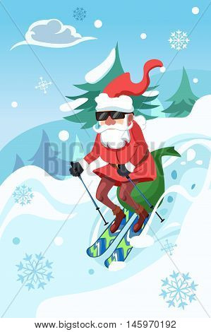 A vector illustration of Santa Claus riding a snowboard delivering toys
