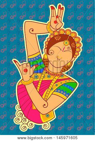 Vector design of woman dancer in Indian art style