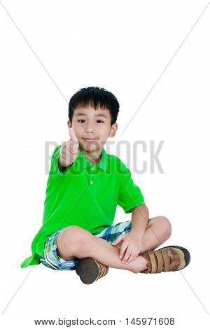 Full Body Of Happy Asian Child Smiling And Thumb Up. Isolated On White Background.