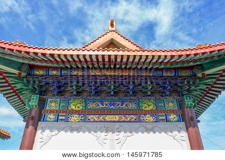 Chinese temple in the morning with cloudy skies in sunshine day