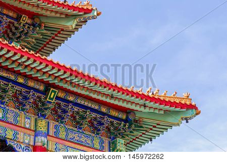 Chinese temple in the morning with cloudy skies in sunhine day