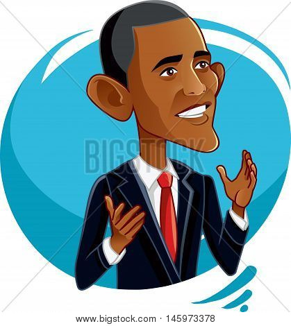 President Barack Obama Funny Vector Caricature Illustration