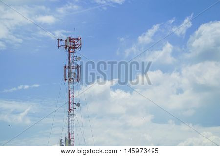 Communications mast in a cloudless sky in morning time