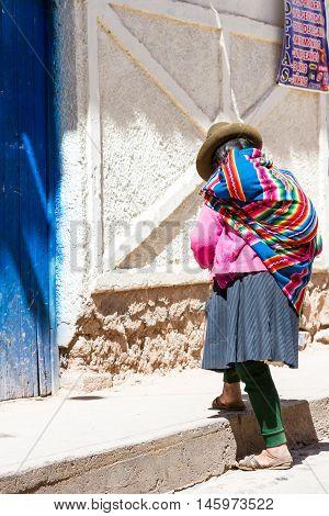 Native Woman In Maras Peru