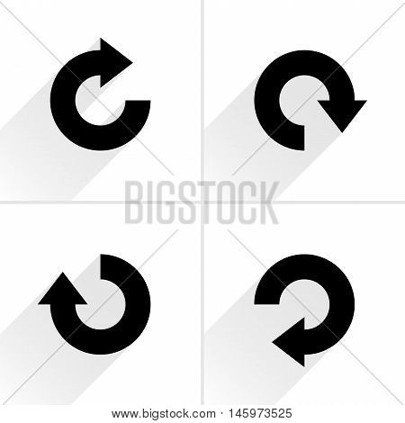 4 arrow icon refresh rotation reset repeat reload sign set 04. Black pictogram with gray long shadow on white background. Simple plain solid flat style. Vector illustration web design 8 eps