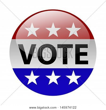 United States election vote button. Election icon isolated in white