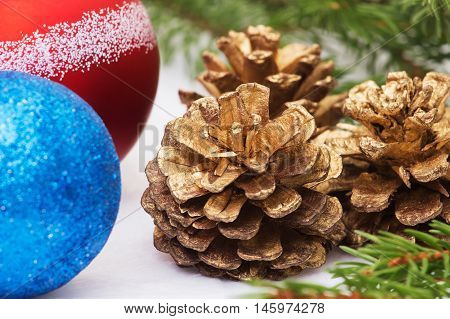 New Year Christmas cones branches of a Christmas tree New Year's toys