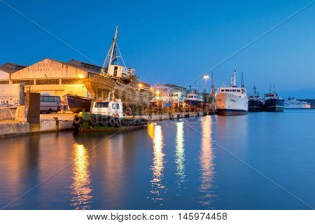 ATHENS, GREECE - SEPTEMBER 05, 2016: Shipyards and industries in the port of Perama on September 05, 2016.