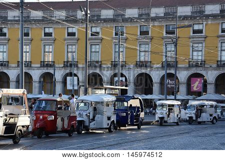 LISBON, PORTUGAL - AUG 23: Praca do Comercio in Lisbon, Portugal, as seen on Aug 23, 2016. Situated near the Tagus river, it was the location of the Pacos da Ribeira (Royal Ribeira Palace) until it was destroyed by the great 1755 Lisbon earthquake.