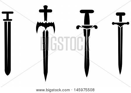 Black silhouettes of swords knife forces set artistic
