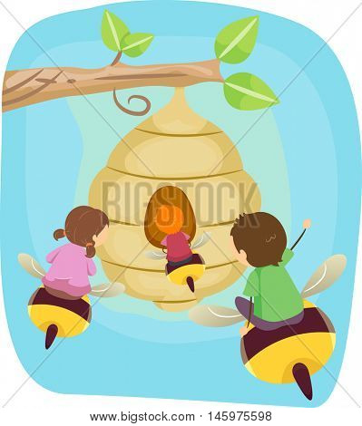 Stickman Illustration of Kids Riding Giant Bees to Get to a Beehive